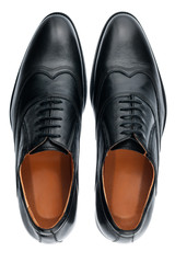 Classic male black leather shoes isolated on a white