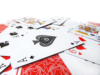 Playing cards, isolated on White