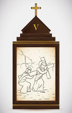 Simon of Cyrene Helps Jesus Carry the Cross, Vector Illustration