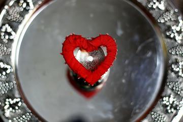 heart shape silver red