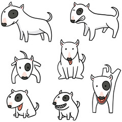 vector set of dog, bull terrier