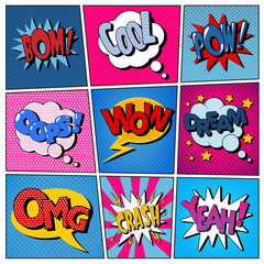 Comic Bubbles Set. Expressions Bom, Cool, Pow, Oops, Wow, Dream, Omg, Crash, Yeah. Pop Art Banner