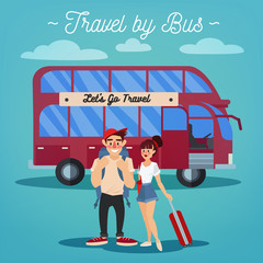 Bus Travel. Travel Banner. Tourism Industry. Active People. Girl with Baggage. Man with Baggage
