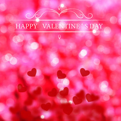 Abstract Valentine's day background with red hearts. Glow Colorf