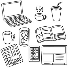 vector set of smart device and coffee