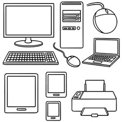 vector set of computer, smart device and computer accessories