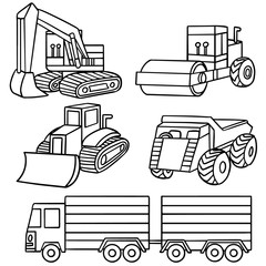 vector set of construction truck