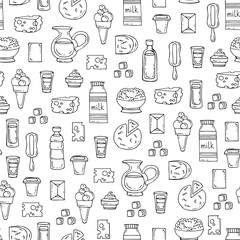 Vector seamless pattern with hand drawn isolated dairy products,milk on white color