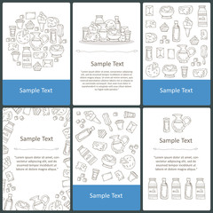 Vector set of prepared cards with hand drawn dairy products, milk