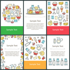 Vector set of colored cards with hand drawn dairy products, milk