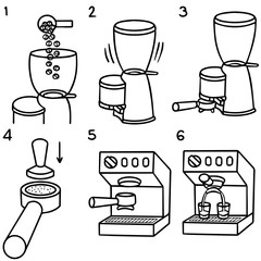vector set of six steps to making espresso