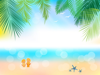 Summer Journey poster with tropical background.