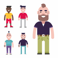 Set of Male Avatars. Flat Style Vector Illustrations. Fashion and Clothing