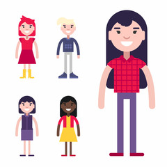 Set of Female Avatars and Icons. Flat Style Vector Illustrations. Fashion and Clothing