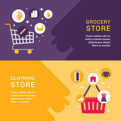 Grocery Store. Clothing Store. Shopping Concept. Set of Web Banners. Flat Style Vector Illustration