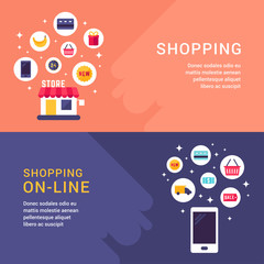 Shopping and Shopping Online Concept Illustration. Web Banner Template. Vector Flat Style Illustration and Icons