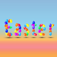 Inscription Easter was made in eggs on colored background