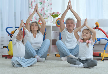 grandparents  and  granddaughters doing exercise