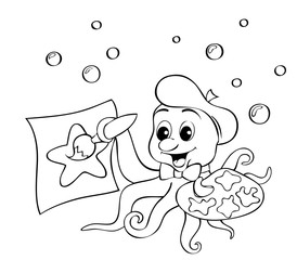 Cute little octopus with a palette drawing starfish. Black and white vector illustration for coloring book