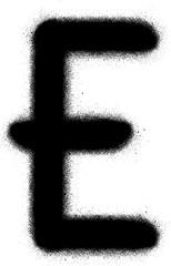 sprayed E graffiti font in black over white