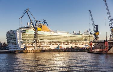 Hamburg Cruise Ship in the Dry Dock