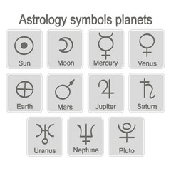 monochrome icon set with astrology symbols planets for your design
