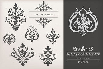Vintage Damask Ornaments