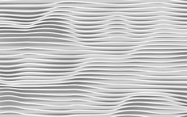Abstract white wavy stripes pattern. Digital 3 d