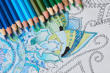 Coloring for adults and color pencils