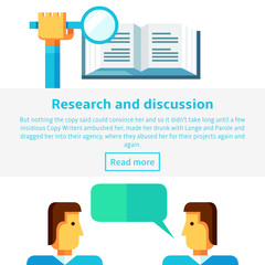 Research and discussion concept vector illustration in flat infographic style. Book, people, speech bubble. Two characters discussing work project. Hand holding a magnifying glass over the book.