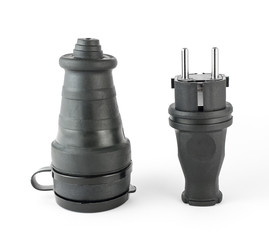 Electric rubber plug with socket