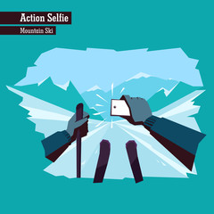 Vector flat illustration of a dangerous action selfie. People making selfies while doing extreme sports. Man holds a smartphone and takes a selfie while going downhill on mountain skis.