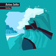 Vector flat illustration of a dangerous action selfie. People making selfies while doing extreme sports. Surfer holds a smartphone and takes a selfie while going thought a water pipe.