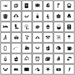 Set of forty nine travel and camping icons