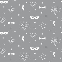 Baby grey and white diamond and mask pattern seamless design. Nursery kid doodle background for bed linen and apparel. Diamond, mask, star and bow.
