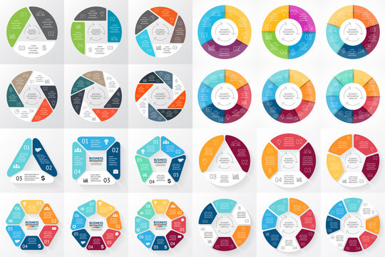 Vector circle arrows infographic. 3, 4, 5, 6, 7, 8 options, parts, steps. Template for cycle diagram, graph, presentation and round chart. Business logo concept with processes.