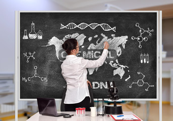 scientific researcher drawing chemical concept