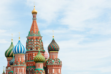 Saint Basil's Cathedral against sky with white clouds, Red square, Moscow, Russia