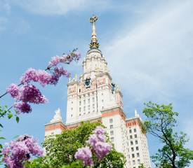 Lomonosov Moscow State University at spring, Moscow, Russia