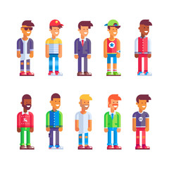 Set of male characters in flat design. Stock vector illustration.