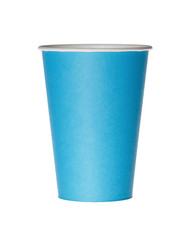Blue disposable paper cup isolated on white.