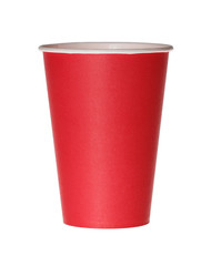 Red paper cup isolated on white.