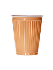 Orange plastic cup on white background.