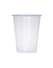 Blue empty transparent plastic cup isolated on white.
