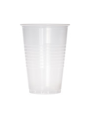 Empty transparent plastic cup isolated on white.