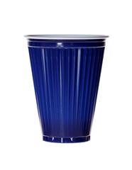 Dark blue plastic cup isolated on white.