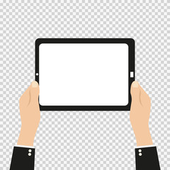 tablet in hand on an isolated background