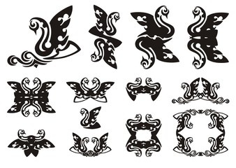 Tribal swan symbols. Black swan with a wave, frames and double swan symbols