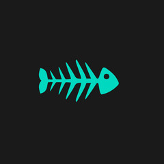 Fish skeleton flat icon