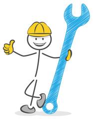 Bau Arbeiter mit Schraubenschlüssel